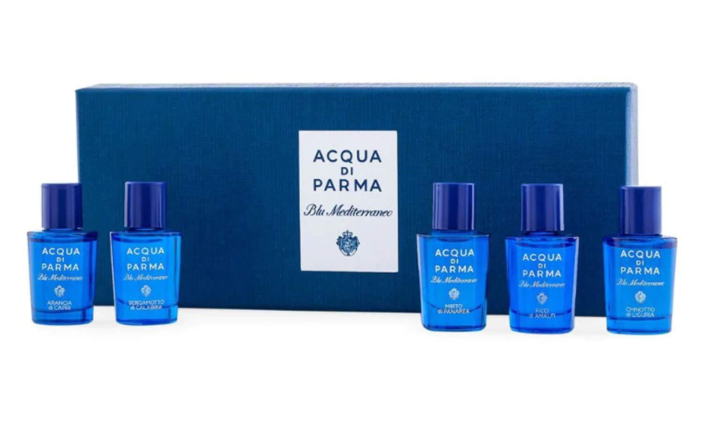Acqua Di Parma Blu Mediterraneo Miniature Set! Includes Arancia di Capri, Bergamotto di Calabria, Fico di Amalfi, Mirto di Panarea And Chinotto di Liguria! Perfect Fragrance Collection Gift Set!