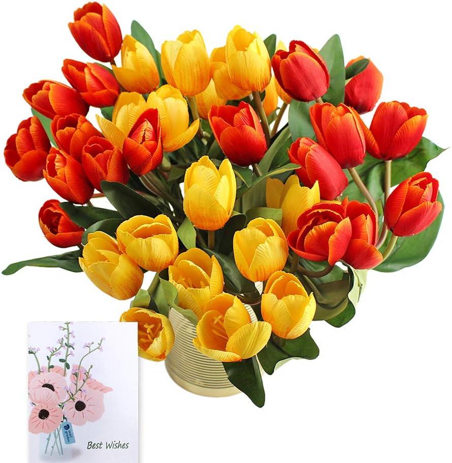 SNAIL GARDEN Ramo de 4 ramos/36 Tulipanes Falsos Artificiales, Flores Artificiales de Seda, Ramo para Novia, Boda, hogar, Fiesta, Festival, arreglos Florales (Rojo/Amarillo)