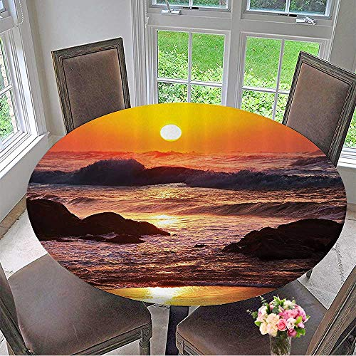 Mikihome Round Polyester Tablecloth Table Cover Aves in Stormy Sea Hits to The Rocky Shore Sun Bathroom 43.5