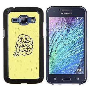 KLONGSHOP // Cubierta de piel con cierre a presión Shell trasero duro de goma Protección Caso - Vida Cita divertida Pedo Arte Slogan Espiritual - Samsung Galaxy J1 J100 //
