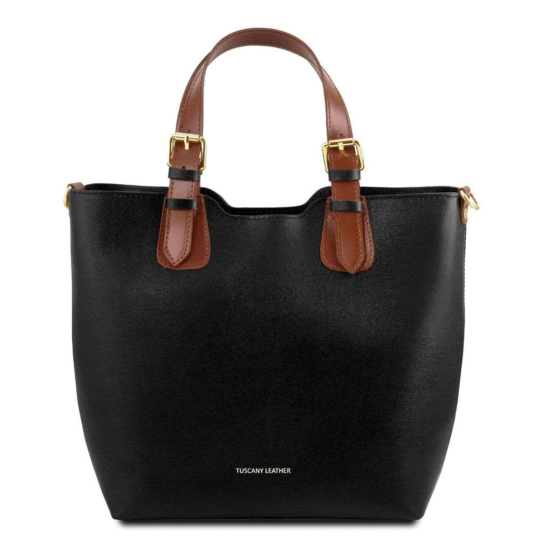 TL141517, Damen Schultertasche Blau blau compact Tuscany Leather