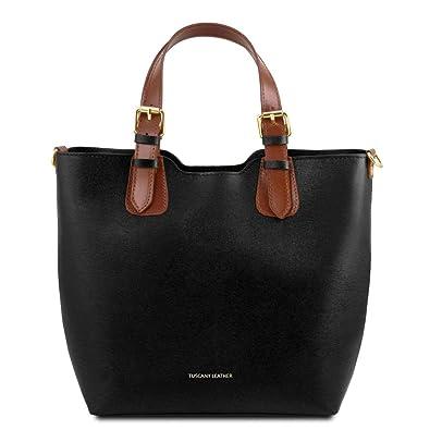 TL141676, Damen Schultertasche Blau blau compact Tuscany Leather