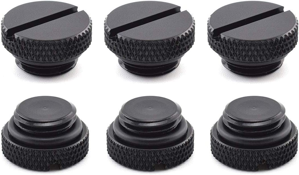 "SDTC Tech 6 Pack G1/4"" Plug Fitting with O-Ring for PC Water Cooling Systems, Black"