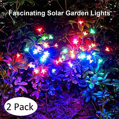 Solar Garden Decorative Lights Outdoor,Beautiful LED Solar Powered Fairy Landscape Tree Lights,Flickering Flower Lights for Pathway Patio Yard Deck Walkway Christmas Decoration (Multicolor 2pack)