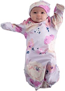 Baby Be Mine Newborn Gown and Hat Set Layette Romper Coming Home Outfit (Newborn, Anais)