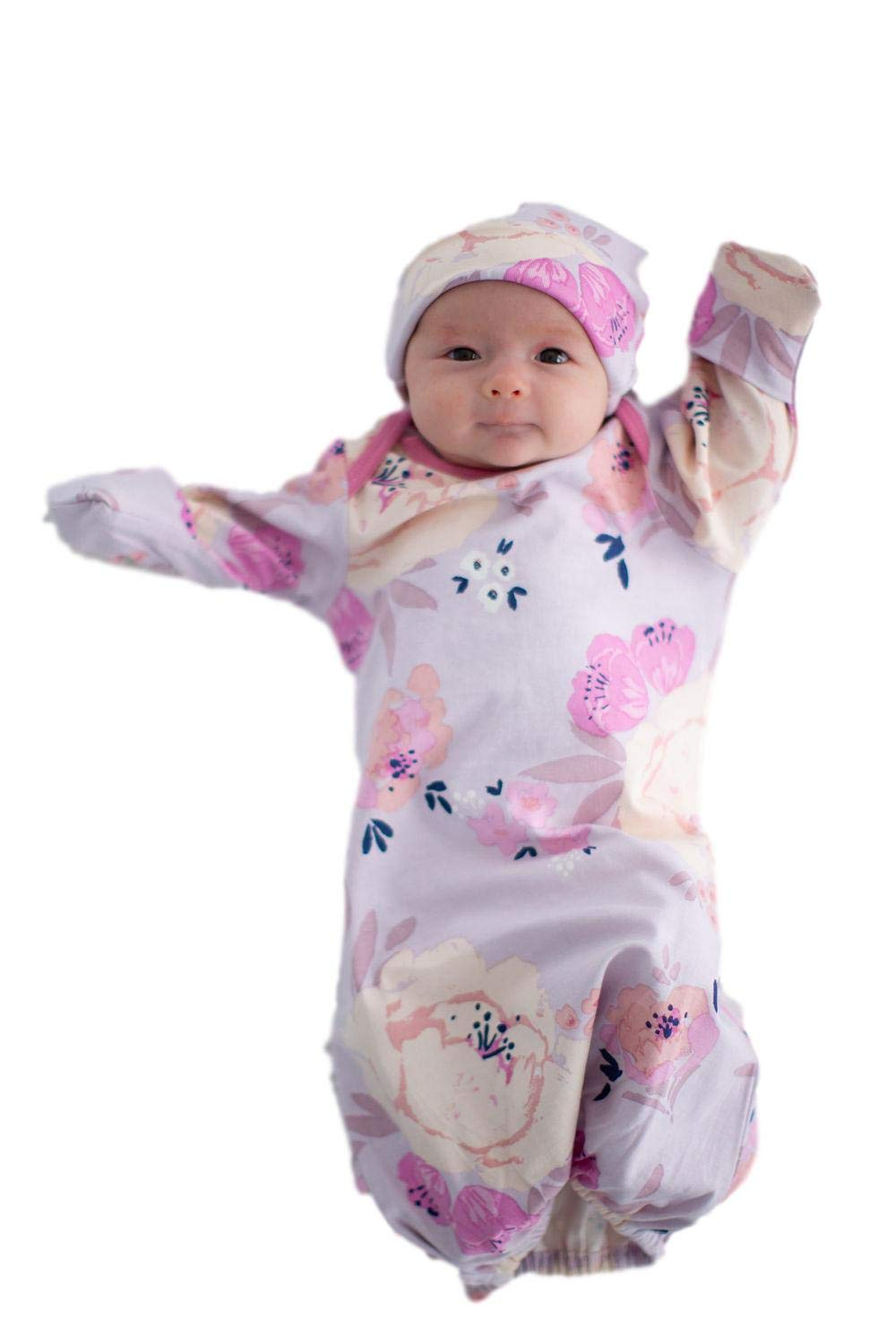 Baby Be Mine Newborn Gown and Hat Set Layette Romper Coming Home Outfit (Newborn, Anais) by Baby Be Mine