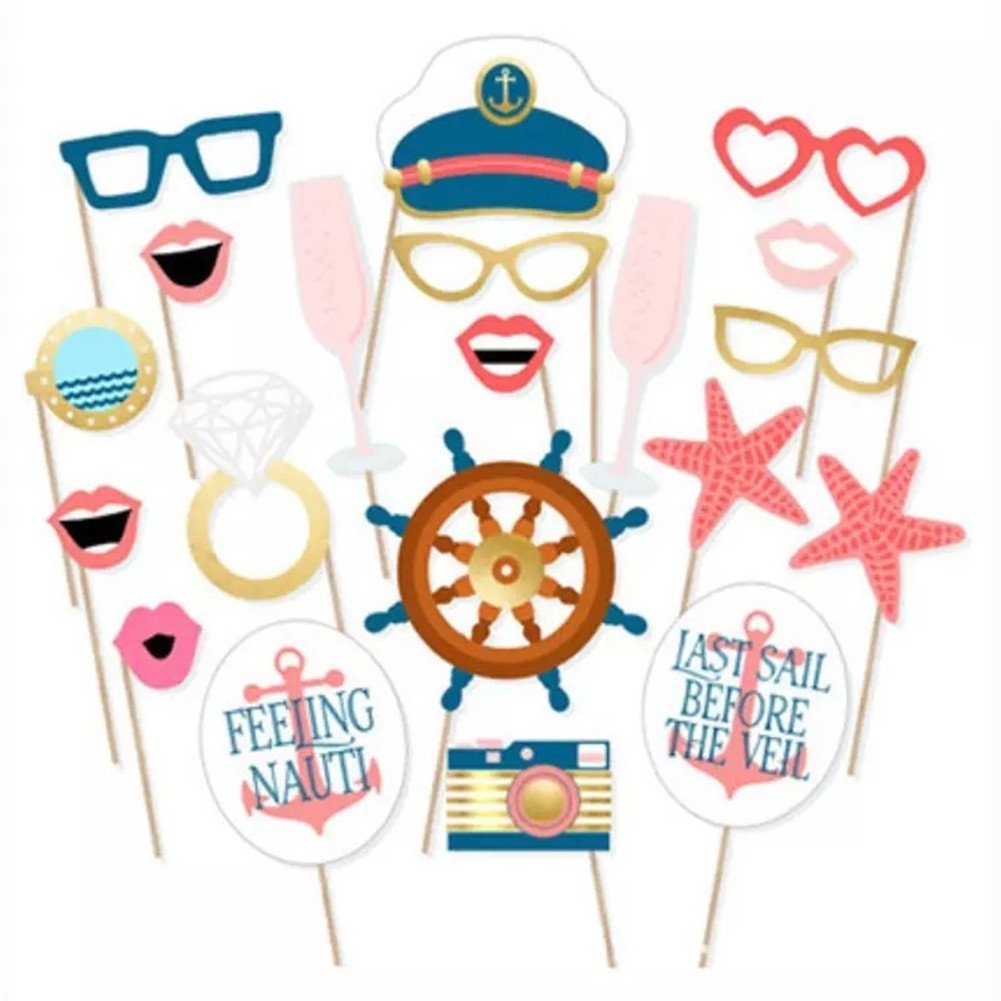 Toshine Nautical Photo Booth Props Kit DIY Photo booth for Wedding, Birthday Party or Hollywood Party Fun Accessories, Reusable, 20 Pieces by Toshine