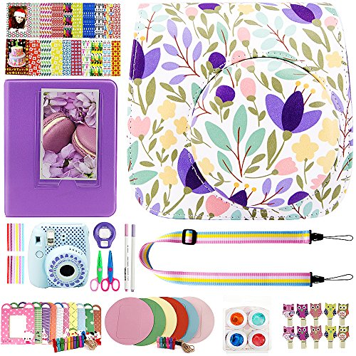 Elvam 12 in 1 Camera Accessory Bundles Set for Fujifilm Instax Mini 8 – Purple Flower Floral (Mini 8 Case/Camera Strap/Album/Film Frames/Stickers/Border Stickers/Lens/Filter/Owl Clip/Pens/Scissors)