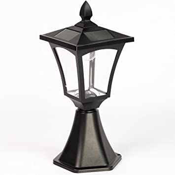 festive lights black solar powered post base mount deck light by