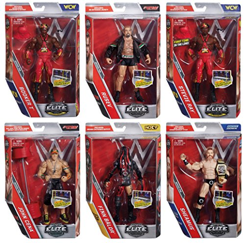 Series #46 WWE Elite Collection John Cena - Demon Finn Balor - Sheamus - Rusev - Harlem Heat Booker T - Stevie Ray Deluxe Wrestling Action Figures Toy (Collector Set of 6) WWF Raw Smackdown WCW NXT