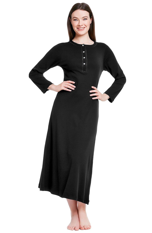 Alexander Del Rossa Womens Cotton Knit Nightgown, Long Henley Sleep Dress A0408