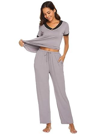 6e96b0cc4 Amiyoi Women's Cotton Sleepwear Soft Pajamas Set 2 Pcs Pj Loungewear ...