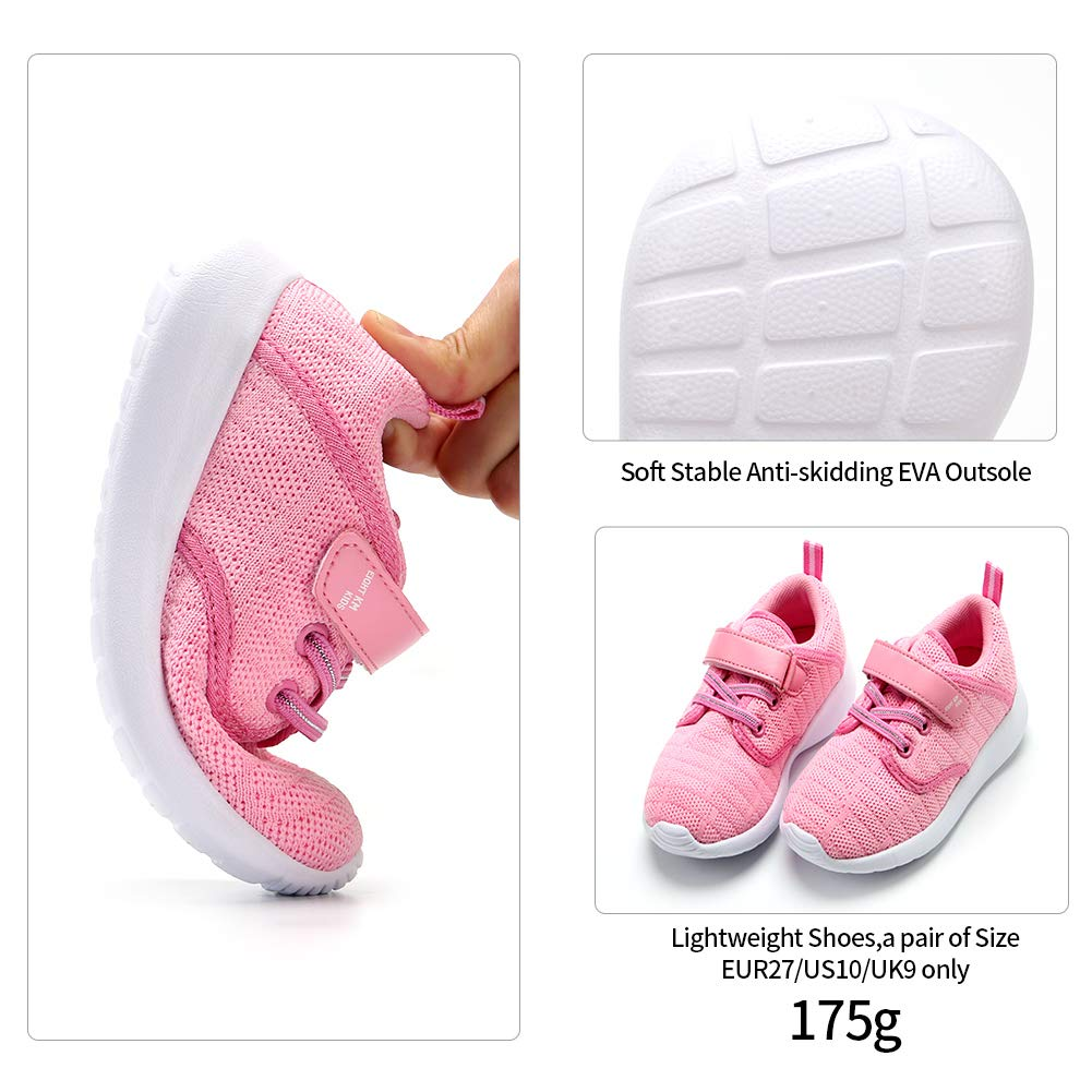 EIGHT KM Boys and Girls Toddler Kids EKM7024 Lightweight Breathable Woven Fabric Velcro Sneakers School Shoes