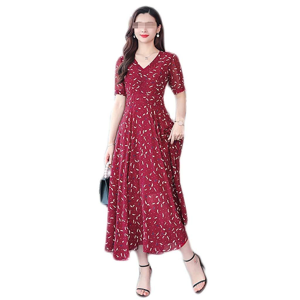 A Robe Fast Fashion - Maxi Plus La Taille Sheering à Manches Courtes en Mousseline de Soie Florale Rouge Big Swing Over The Genou 3 Couleurs 7 Tailles (Couleur   B, Taille   XXXL) XXXL