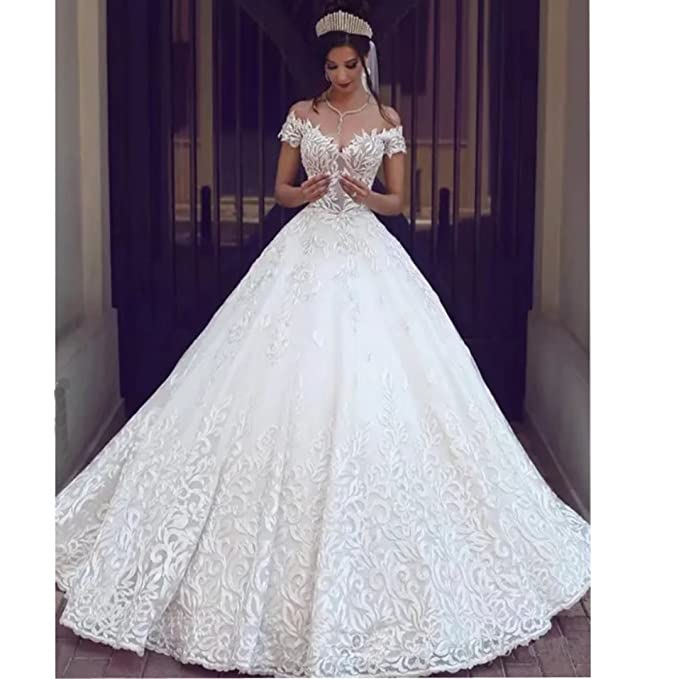 2442c3312 Chady Sexy Off Shoulder Lace Ball Gown Wedding Dresses for Bride 2018 Cap  Sleeves Applique Sweep Train Backless Bridal Gowns Ivory at Amazon Women's  ...