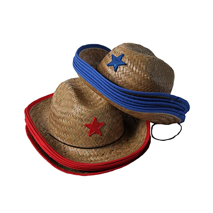 cd06c45011d60 Dozen Kids Western Straw Cowboy or Cowgirl Hats - Assorted Red   Blue