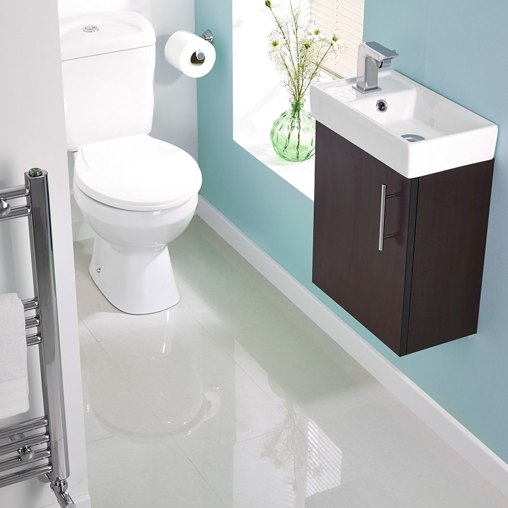 Milano Ebony Wall Hung Minimalist WC Cloakroom Suite