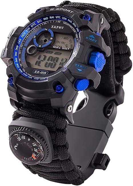 LOY Reloj de Pulsera de Supervivencia 7 en 1 Reloj Deportivo Militar de Emergencia Multifuncional al Aire Libre Unisex para Senderismo/Aventura: Amazon.es: Deportes y aire libre