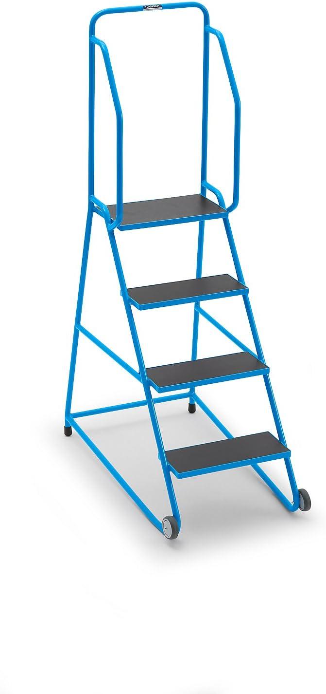 Móvil Escalera ntritt, con serigrafía placa, 4 niveles – Metal Escaleras llevado ayudas Tubo de acero tritte metal Escaleras llevado ayudas Tubo de acero tritte metal Escaleras llevado ayudas Tubo de acero