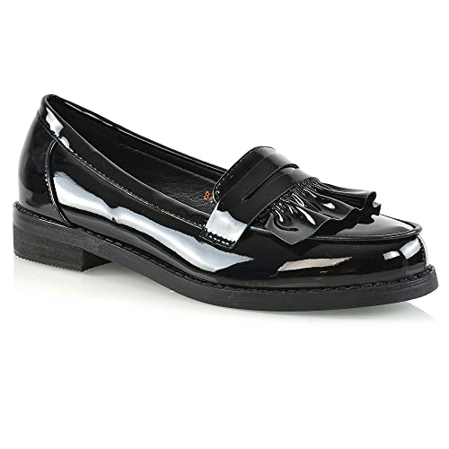 81d20b1c1effe ESSEX GLAM Womens Flat Penny Loafers Synthetic Leather Mocassin Shoes