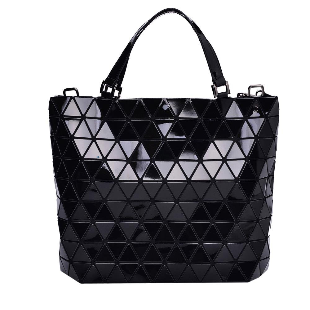Black Diamond Lattice Handbag for Women - Gloss Convertible Shoulder Tote Bag with Adjustable Handles - PU Leather Fashionable & Tote Bag Purse for Party, Wedding & Causal Use by Draizee