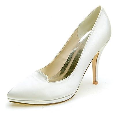 Elobaby Femmes Chaussures De Mariage Dentelle Fleur FerméE Orteil Nouveau Talons Hauts Robe/Chaton/10cm Talon, Black, 36