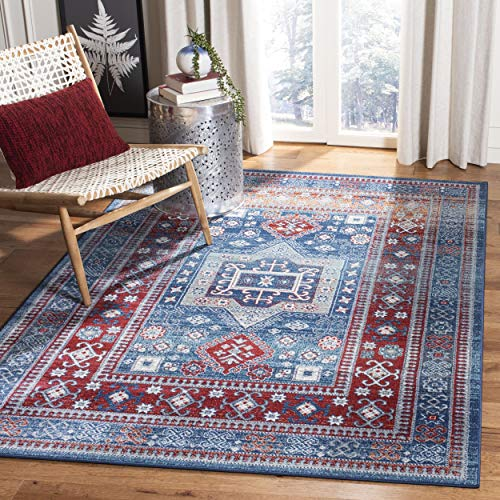Safavieh KZK122R-8 Kazak Collection KZK122R Red and Blue Area (8' x 10') Rug,