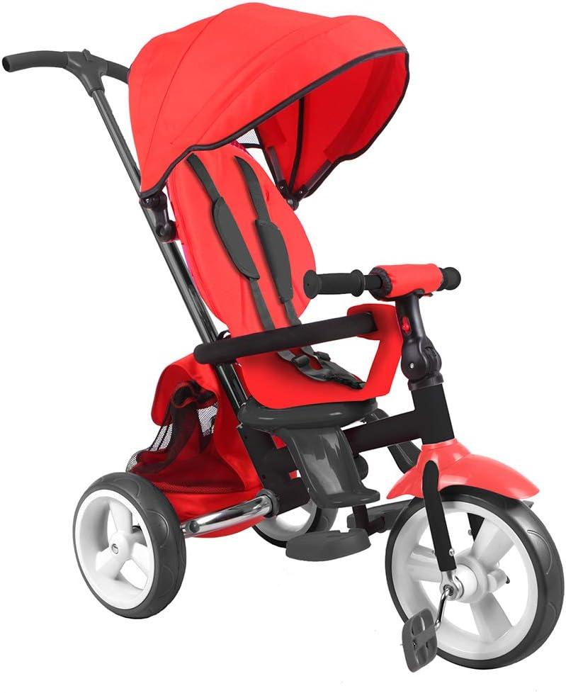 DV Baby Triciclo evolutivo Triciclo Plegable con Asiento Giratorio 360º - Triciclo para niños de 10 hasta 36 Meses – Color Rojo
