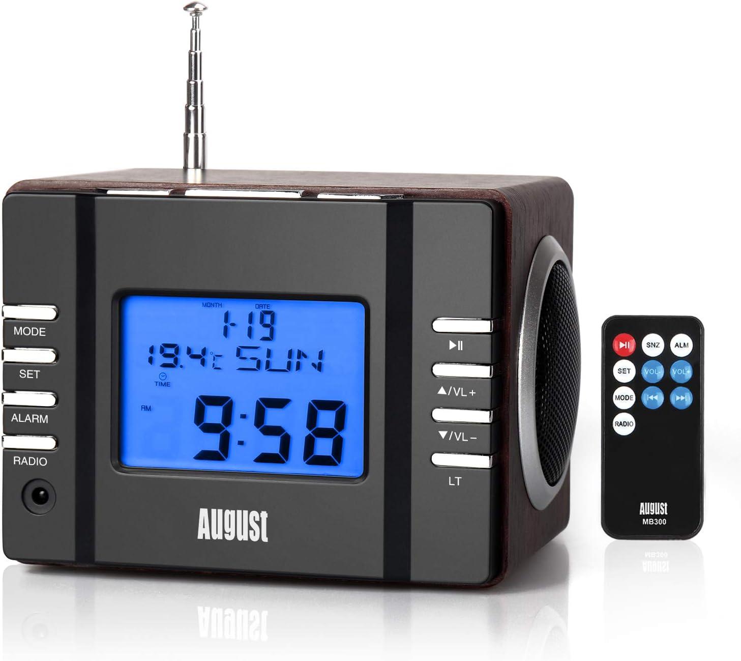 FM Radio Reloj Despertadores con Altavoz - August MB300 - Portátil Radio FM Puerto USB / Snooze / Temperatura / Sleep Timer / 12/24H Radiodespertadores para Dormitorio, Oficina - Telecomando