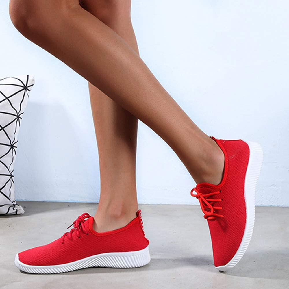 Dihope, Femme Baskets Chaussures Outdoor Running Gym Fitness Sport Sneakers Style Running Sneakers Shoes Respirante Rouge