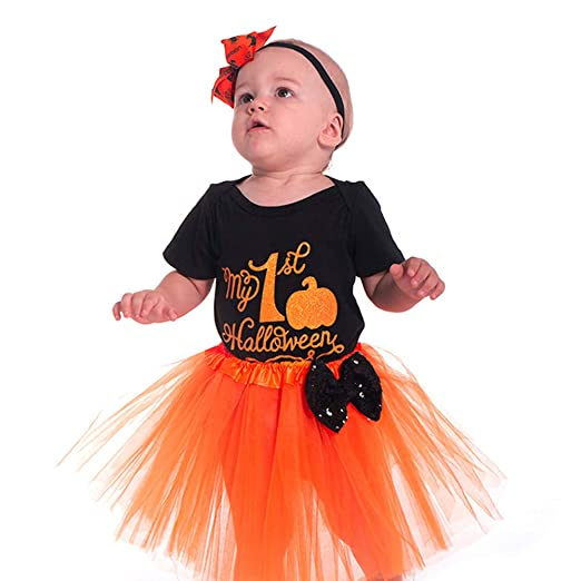 6a148538d Amazon.com  Cywulin Baby Girls Halloween Clothes 2 Piece Romper Tutu ...