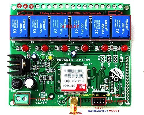 gsm relay control on off 6 loads by using mobile phone by sms call for
