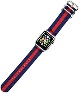 deBeer Watch Band - 2-Piece Nylon - Navy with Red Stripe - Compatible with 42mm & 44mm Series 1, 2, 3, 4, and 5 / 44mm Series 1, 2, 3, 4, and 5 Apple Watch [Black Adapters]