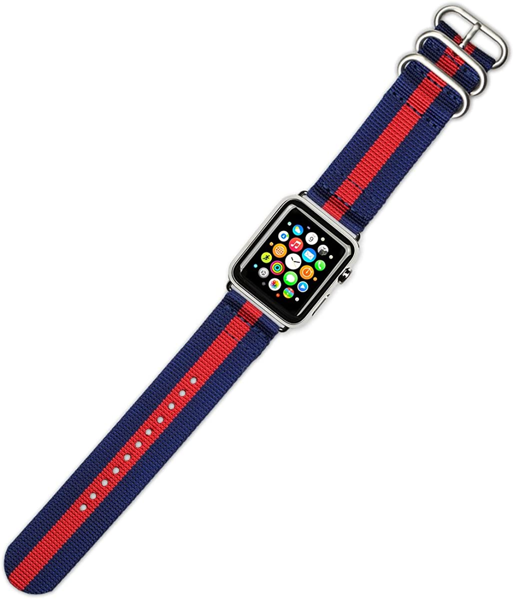 Debeer Watch Band - 2-Piece Nylon - Navy with Red Stripe - Compatible with Apple 38mm & 40mm Series 1, 2, 3, 4, 5, and 6 Apple Watch [Silver Adapters]