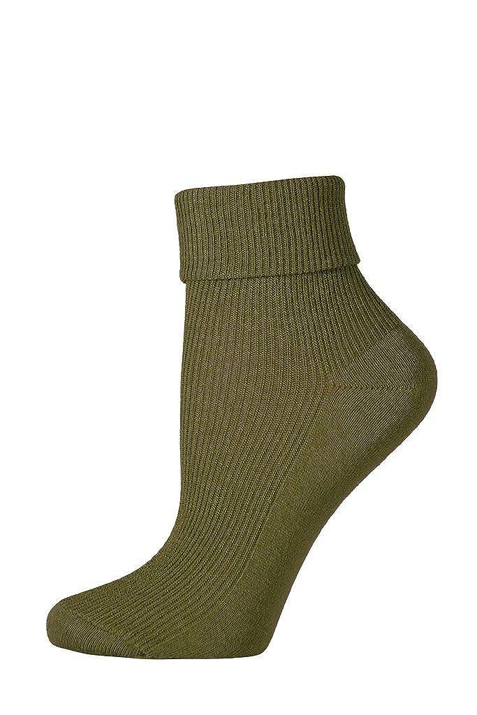 3 Pairs of Girls / Ladies Ankle Socks with Turndown Tops - UK Made Black)