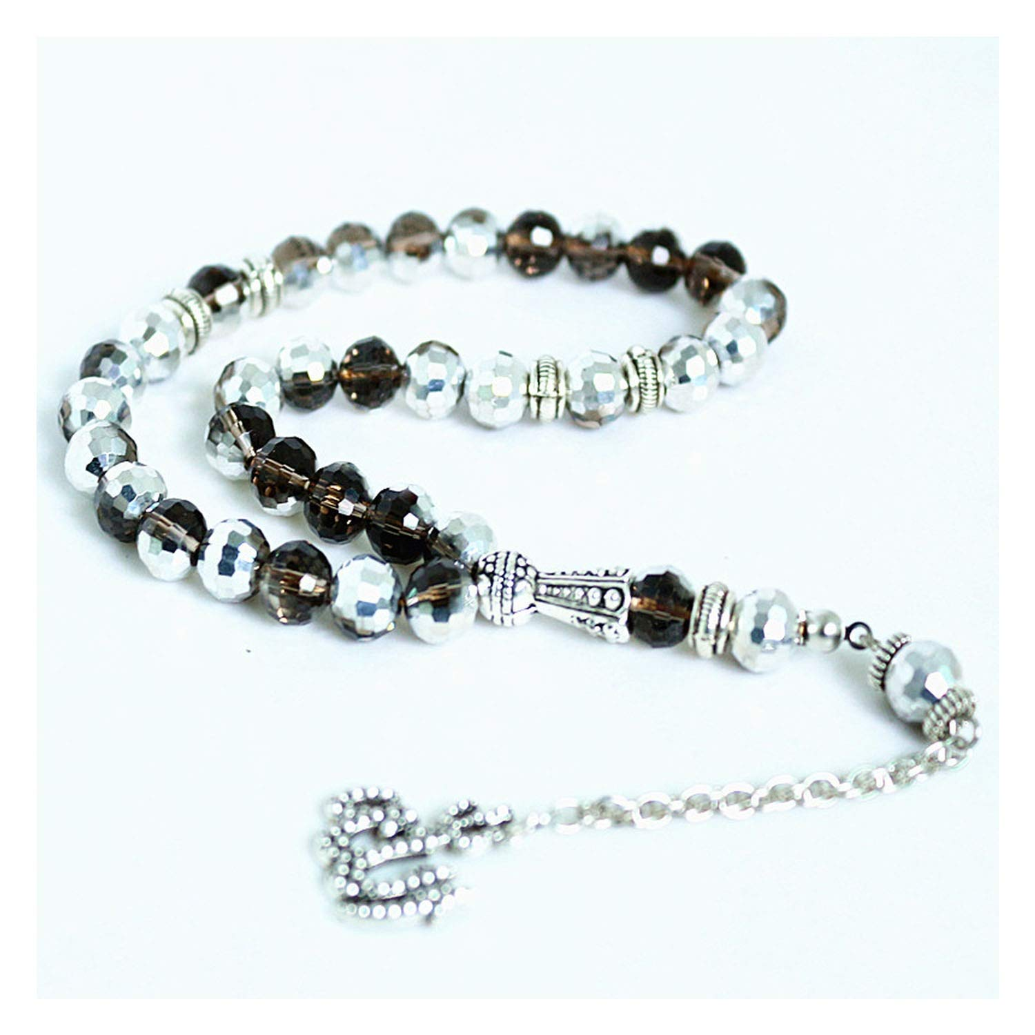 monicaexclusive 8mm Silver Plated Crystal Round 33 Prayer Beads Islamic Muslim Tasbih Allah Mohammed Rosary/&Women
