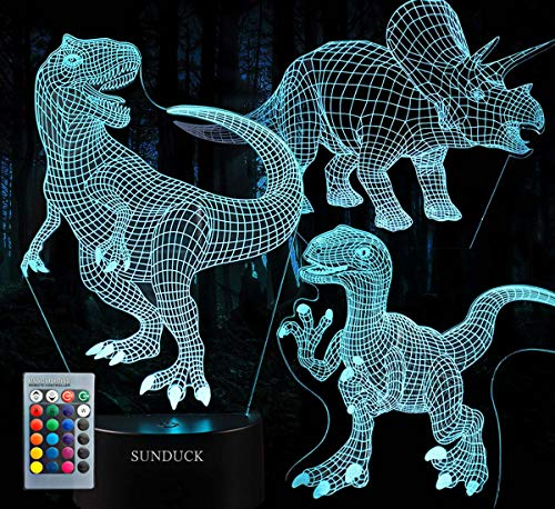 Sunduck 3D Dinosaur Night Light - 3D Illusion Lamp Three Pattern and 7 Color Change with Remote Control Birthday Gifts for Boys Girls Kids