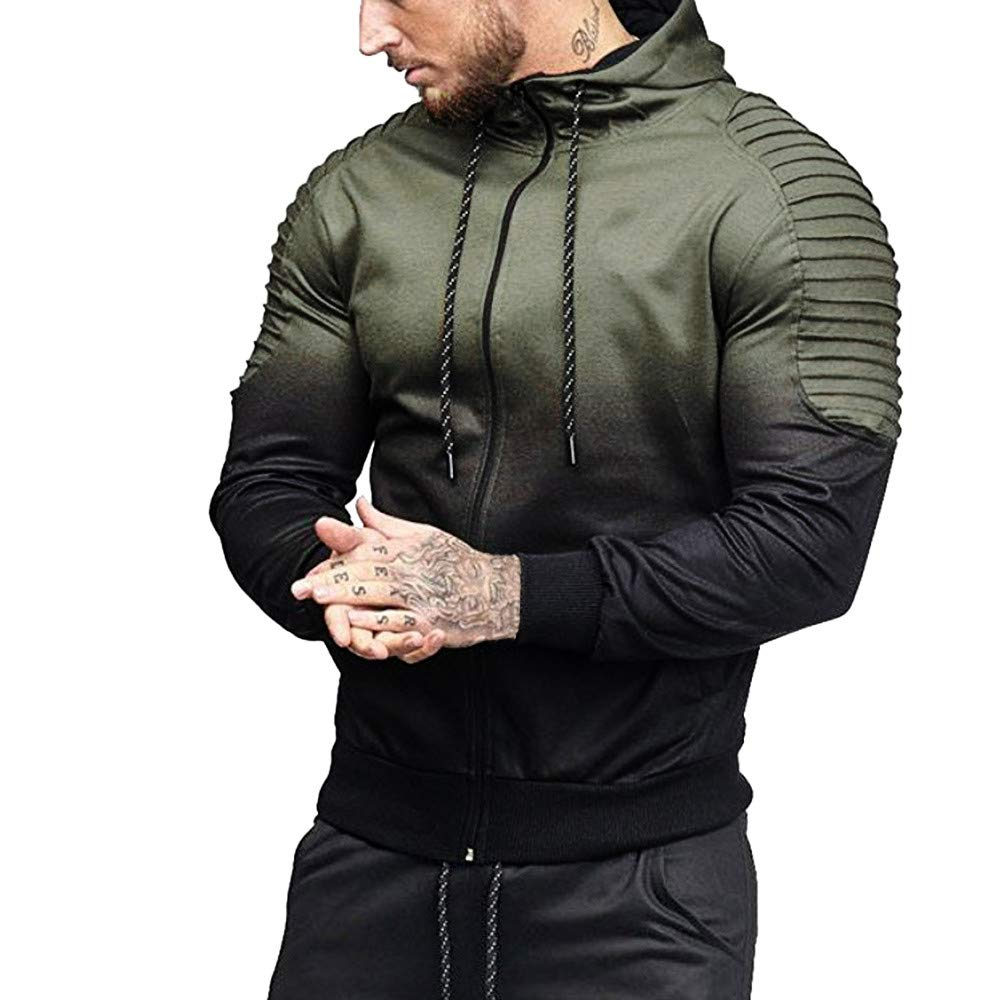 SMALLE ◕‿◕ Clearance,Mens' Autumn Winter Long Sleeve Splicing Fold Hooded Top Blouse Tracksuits