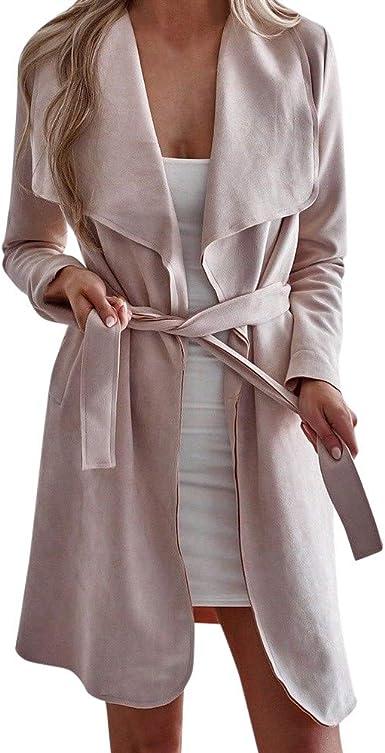 Women Ladies Waterfall Cardigan OL Office Trench Long Coat Duster Jacket Open US