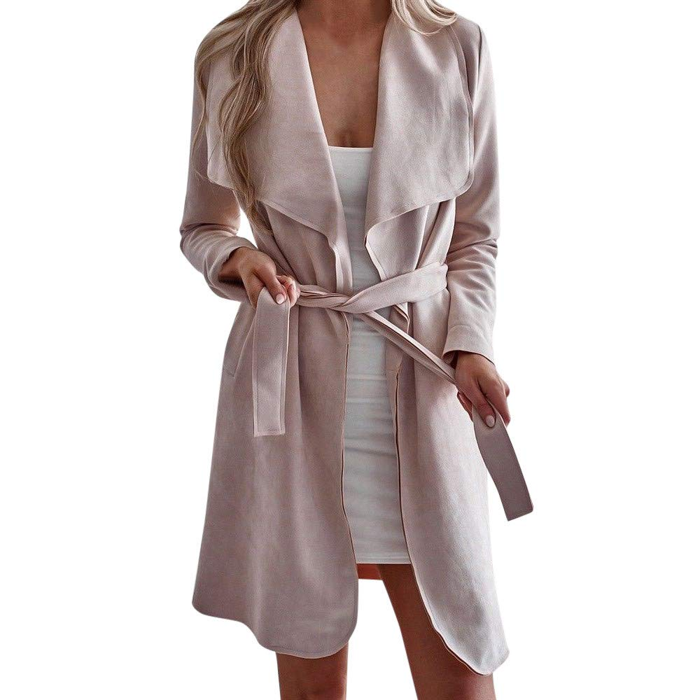 Challyhope Womens Winter Stylish Woolen Waterfall Trench Jacket Coat Cardigan Outwear with Belted