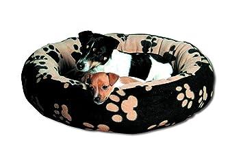 Trixie Cama Sammy, 70 cm, Negro/Beige con huellas: Amazon.es: Productos para mascotas