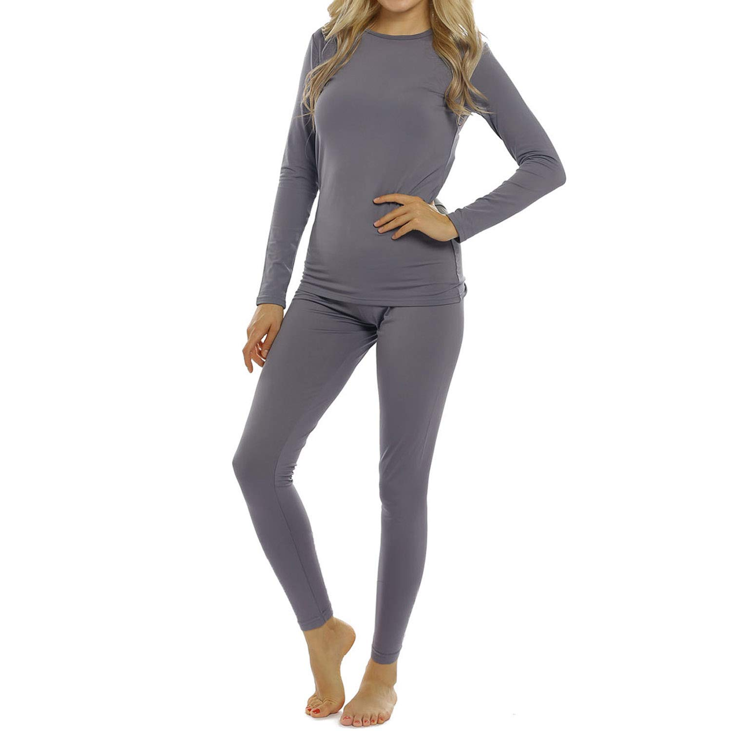 Womens Thermal Underwear Set Long Johns with Fleece Lined Ultra Soft Top & Bottom Base Layer for Women Gray by ViCherub