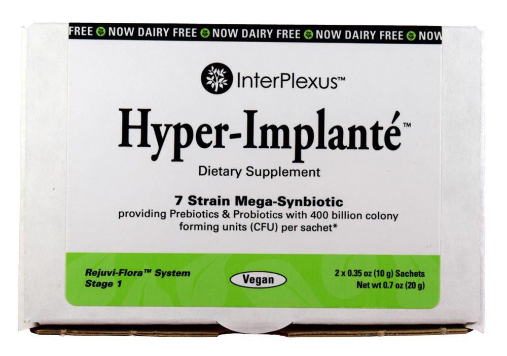 Hyper-Implanté - 7 Strain Mega-Synbiotic providing Prebiotics & Probiotics with 400 billion CFU per sachet - 2 Sachet per Box