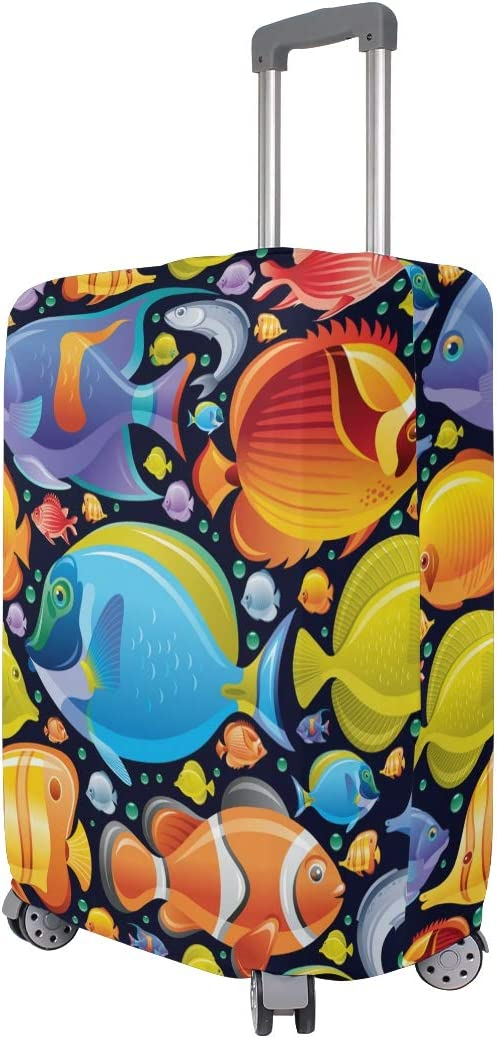 FOLPPLY Colorful Sea Ocean World Fish Luggage Cover Baggage Suitcase Travel Protector Fit for 18-32 Inch