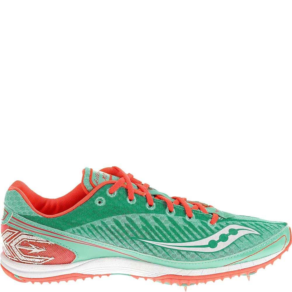 Saucony Women's Kilkenny XC5 Shoe Cross Country Spike Shoe,Aqua/Vizi Coral,10 M US by Saucony