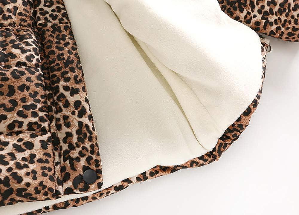Girls Boys Outwear Coat,SIN vimklo Fall Winter Warm Thick Leopard Print Windproof Cotton Hooded Jacket Khaki