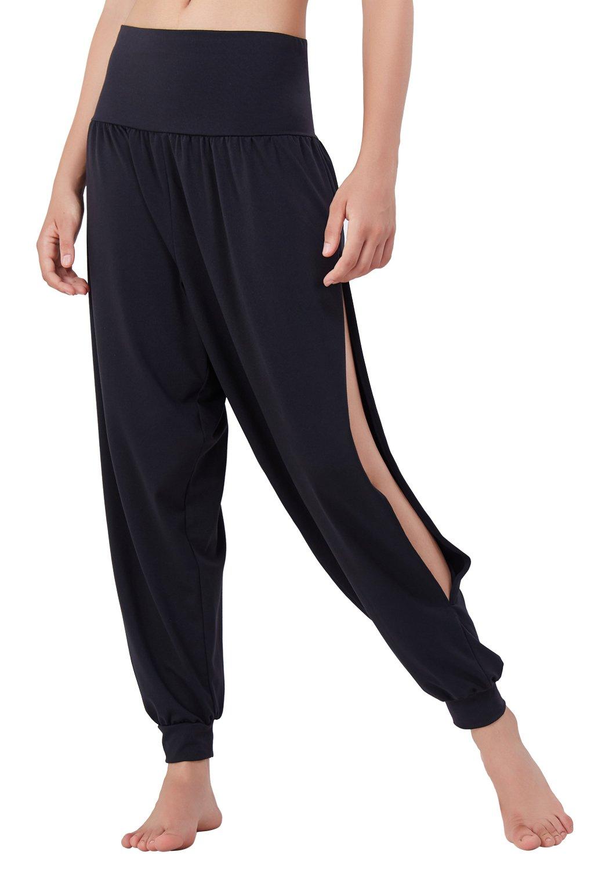 Matymats Yoga Harem Pants for Women Sports Dancing Workout Sweat Pants Side Slit,Black,Small