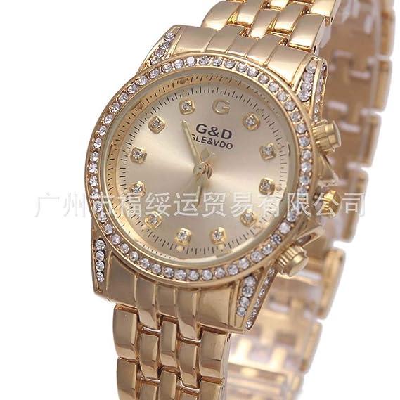 Hermosa Pulsera Relojes de Oro y Diamante Reloj de Cuarzo Reloj de Oro: Amazon.es: Relojes