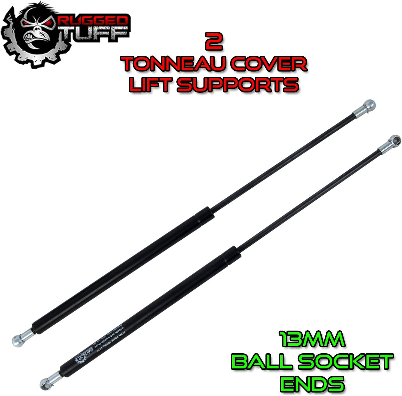 Rugged TUFF Universal Lift Supports Tonneau Window Camper Lid 13mm Ball Socket Ends Force 85 Lbs 26.3 Extended Length Assist Struts Shocks Springs Dampers RT311012 PM2047 4567 SE1024M80BL Qty 2
