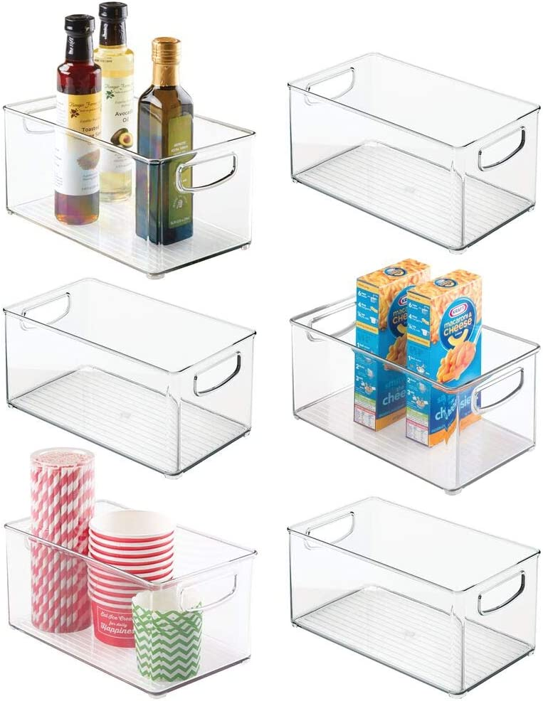 "mDesign Plastic Kitchen Pantry Cabinet, Refrigerator or Freezer Food Storage Bins with Handles - Organizer for Fruit, Yogurt, Snacks, Pasta - Food Safe, BPA Free, 6"" Wide, 6 Pack - Clear"